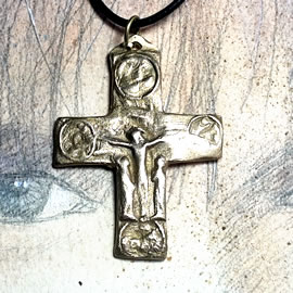 o42C-007 Gold/silver colour bronze or copper cristian cross on a black leather strap(coppe