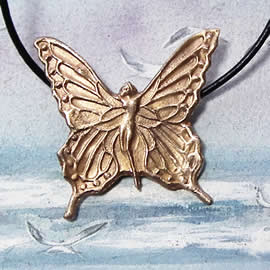 p220-023 Bronze necklace,  Butterfly  Fairie on a black leather strap