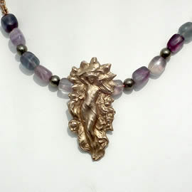 p221-018 Bronze Goddess necklace, vintage chain,  fluorite and pyrit beads