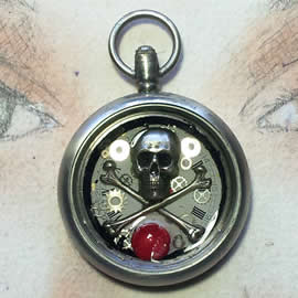 q09q-005 Pendant steampunk-gothic with a pirat skull, coral flower in resin