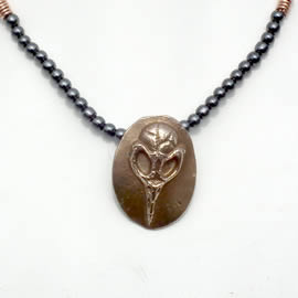 022K2-001 Bronze Necklace crow skull, hematite beads  and chain