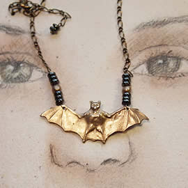 f22R-004 Bronze Necklace Bronze bat  hematite beads  and chain