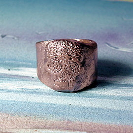 q93q-009 Gothic unisex ring mexican skull-mask handmade in copper at your size on order