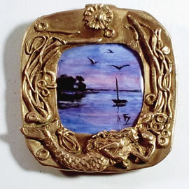 ef2p4-001 Miniature of  Port d'Orange hand-painted enamel on copper