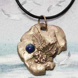 n42Az-16 Bronze pendant, meteorite-  flower; azurite cab and  black leather