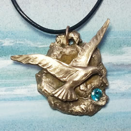 342g-042 Bronze pendant, meteorite-Seagull +bluezirconia, black leather