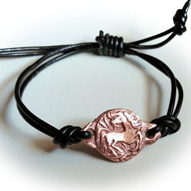673O--006 Ajustable   copper horsel+leather bracelet
