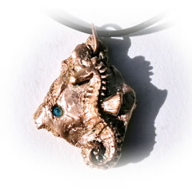 642a-058 Bronze pendant, meteorite,hippocampus + aquablue Czirconia black leather