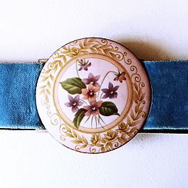 mb6B1-021 Romantic belt +enamel buckle with decal flowers and ajustable velvet