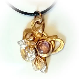 n42A-006 Elven pendant in goldbronze, with flowers & leaves(3 metals and  many  stones pos